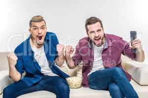 Male friends watching tv
