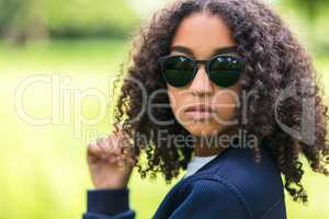 Mixed Race African American Girl Teen Sunglasses