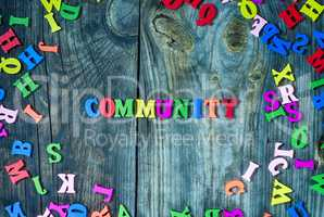 Word community from small multi-colored letters