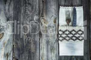 Cutlery fork and knife decorated with vintage cloth