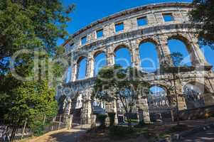 Ancient Roman amphitheater in Pula, Croatia. UNESCO world herita