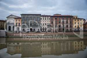 PISA, ITALY- OCTOBER 22 ,2016 Architecture of Pisa city with tra
