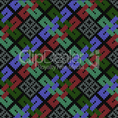 Ethnic stylized seamless knitted pattern