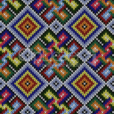 Colorful seamless knitted pattern