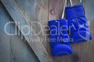 Blue leather boxing gloves hanging