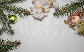White wooden background with Christmas decoration