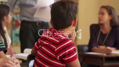 Bad Grades For Hispanic Male Student Sad Boy In Class