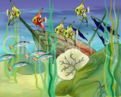 Coral Fishes Underwater Illustration