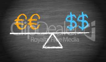 Euro and Dollar Balance Concept