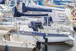 Segelboote im Hafen von Maasholm, Schleswig-Holstein, Deutschlan