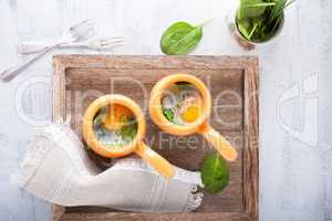 Baked eggs with spinach