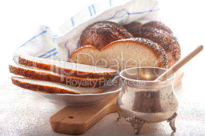 Braided Challah bread and honey
