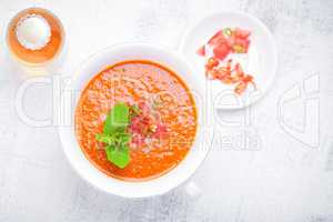 Bowl of Fresh tomato soup Gazpacho.