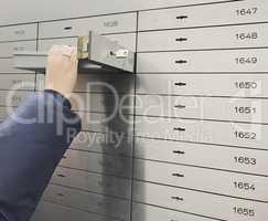 Open locker in a vault of a bank