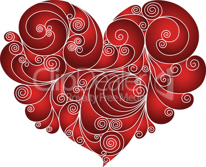Red heart floral stencil
