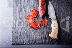 Spanish chorizo and a knife