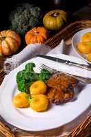 dumplings with pumpkin puree and grilled ribs