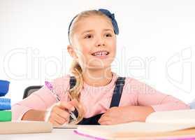 Schoolchild doing homework