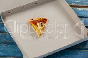 Slice of pizza in pizza box