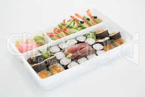Tray of assorted sushi