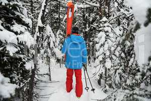 Skier walking with ski on snow covered mountains