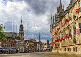 Market square with gothic city hall in Gouda, South Holland, Netherland