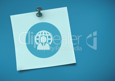 Sticky Note with network Icon against neutral blue background