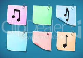 Sticky Note with Music Icons against a neutral blue background