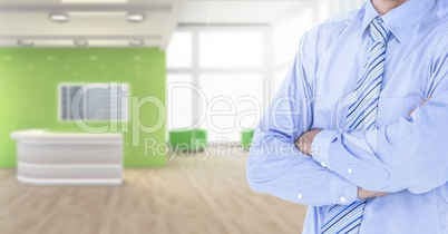 Businessman torso in the neutral room