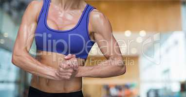 Fitness woman Torso making exercises in a gym
