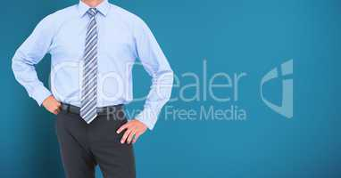 Businessman Torso against a neutral blue background