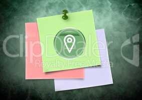 Sticky Note with location icon against green background
