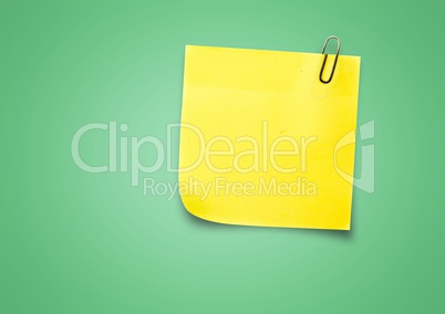 Yellow Sticky Note against a neutral green background