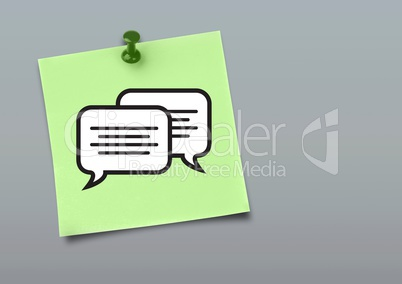 Sticky Note with Chat Speech Bubble Icon against neutral grey background