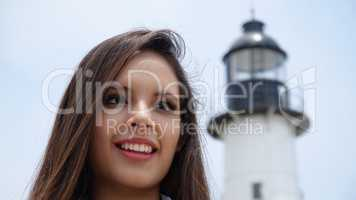 Tourist Teen Girl At Lighthouse