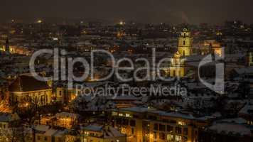 Vilnius old town panorama at night