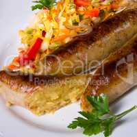 Potato sausage from grated potatoes and pork.