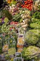 Famous market (La Boqueria) detail with vegetables and fruits in