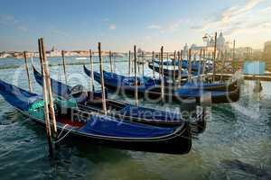 Venetian gondolas at sunset