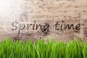 Bright Sunny Wooden Background, Gras, Text Springtime