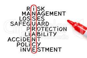 Insurance Crossword Marker Concept