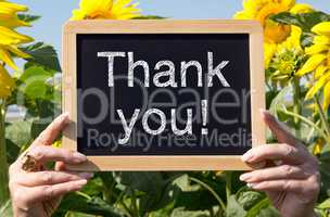Thank you - chalkboard with flowers