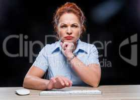 Angry woman with keyboard