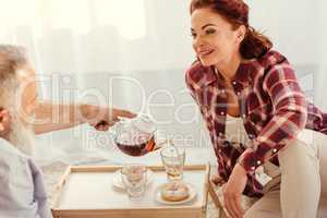 Mature couple drinking tea