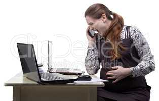 Angry pregnant woman talking on the smartphone