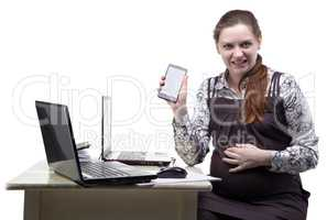 Angry pregnant woman with smartphone