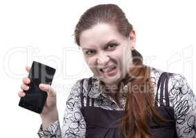 Angry woman with cracked smartphone