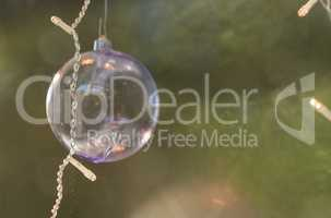 Clear Christmas ornament with lights