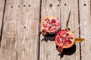 Fresh red organic pomegranate fruit Punica granatum