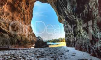 Opening of a cave at One Thousand Steps Beach
